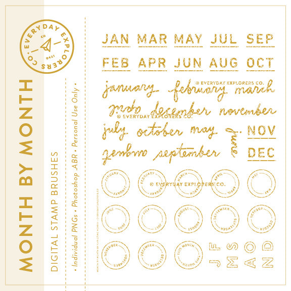 Month By Month - Digital Stamp Set