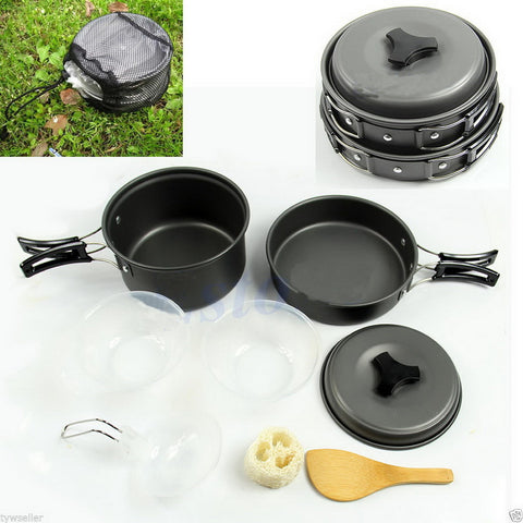 camp cookware set pot pan bowl