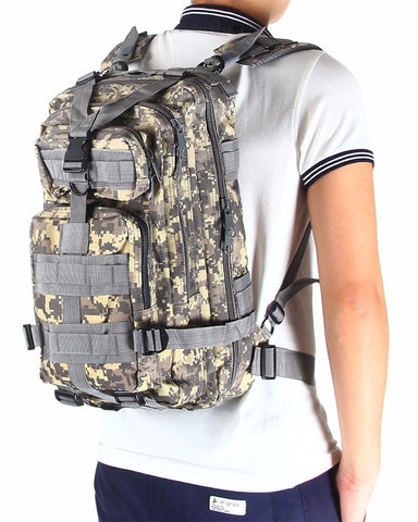 tactical backpack on man