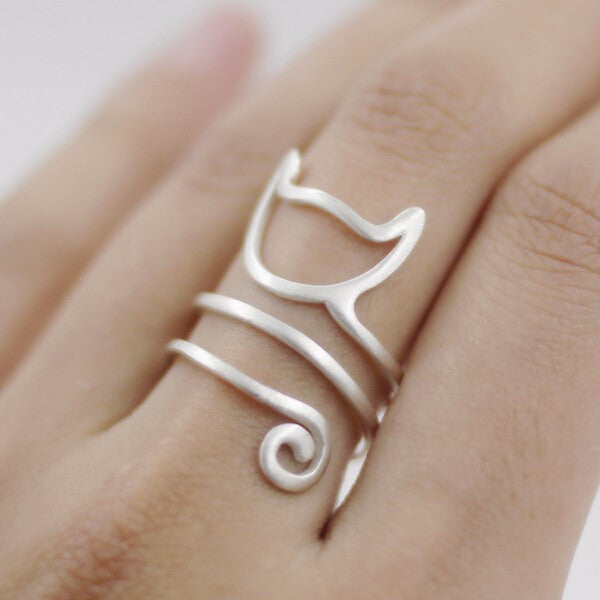 Sterling Silver Trendy Cat Ring Adjustable