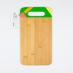 Designer Dwellings Green (Orange-Red-Yellow) Geometric Bamboo Cutting Board Cutting Board- Loxley and Leaf