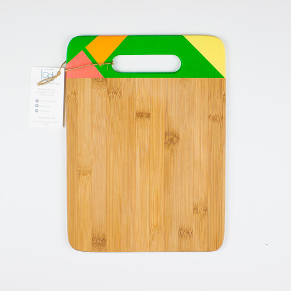 Designer Dwellings Green (Orange-Red-Yellow) Geometric Bamboo Cutting Board