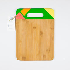 Designer Dwellings Green (Orange-Red-Yellow) Geometric Bamboo Cutting Board - Loxley and Leaf