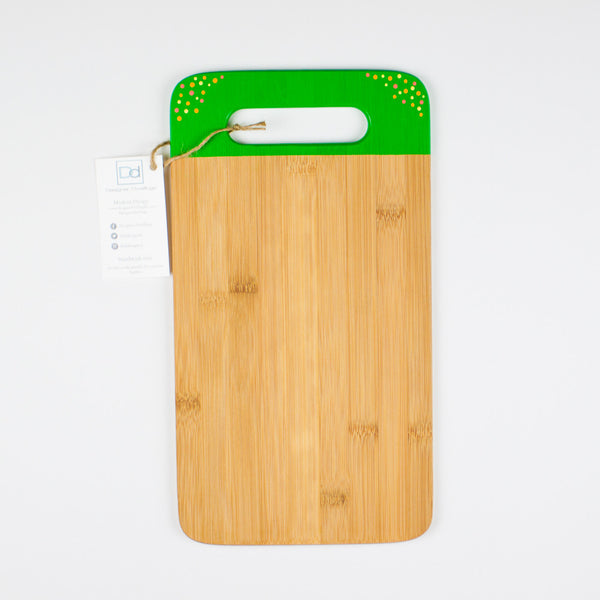 Designer Dwellings Green Polka Dot Bamboo Cutting Board Cutting Board- Loxley and Leaf