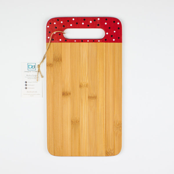 Designer Dwellings Red Navy White Polka Dot Bamboo Cutting Board