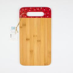 Designer Dwellings Red Navy White Polka Dot Bamboo Cutting Board Cutting Board- Loxley and Leaf