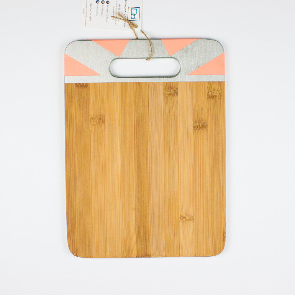 Designer Dwellings Silver and Peach Geometric Bamboo Cutting Board Cutting Board- Loxley and Leaf