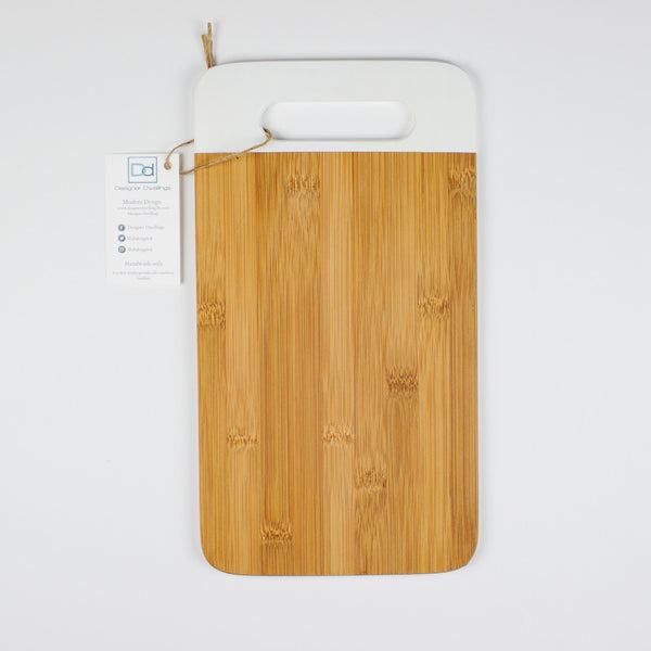 Designer Dwellings White Bamboo Cutting Board