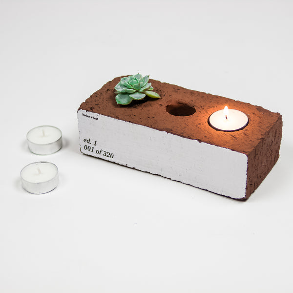 Re:Home Reclaimed Brick Votive Planter Votive- Loxley and Leaf