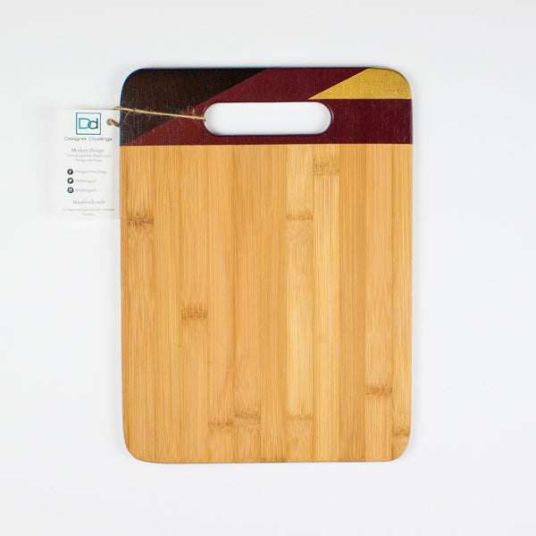 Designer Dwellings Burgundy, Black and Gold Geometric Cutting Board Cutting Board- Loxley and Leaf