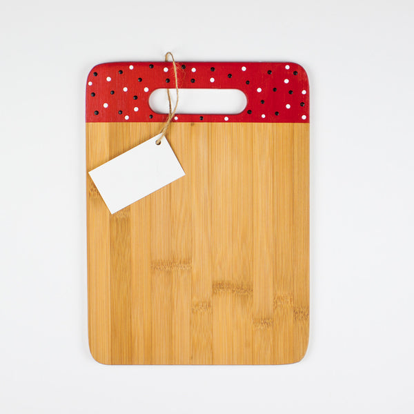 Designer Dwellings Red Navy White Polka Dot Bamboo Cutting Board - Loxley and Leaf