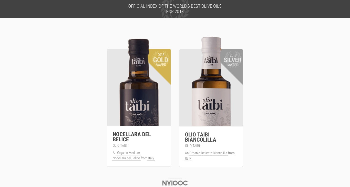 Olio Taibi Awarded Gold and Silver Medals at World's Largest and Most Important Olive Oil Competition