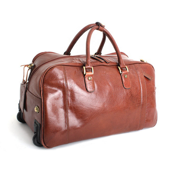 Wheeled Holdall, Ashwood Wheeled Leather Holdall | Chestnut - Voyager Leather