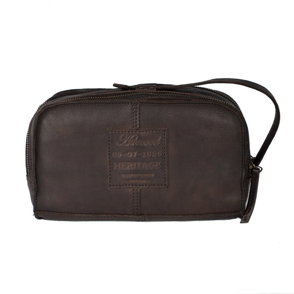 Washbag, Ashwood Shoreditch Leather Washbag | Brown - Voyager Leather