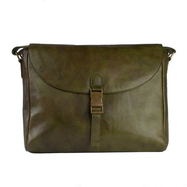 Messenger Bag, Leather Messenger Bag | Olive - Voyager Leather