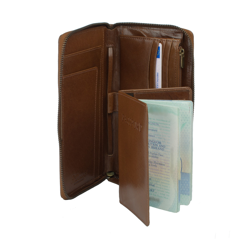 Wallet, Leather Travel Wallet | Tan - Voyager Leather