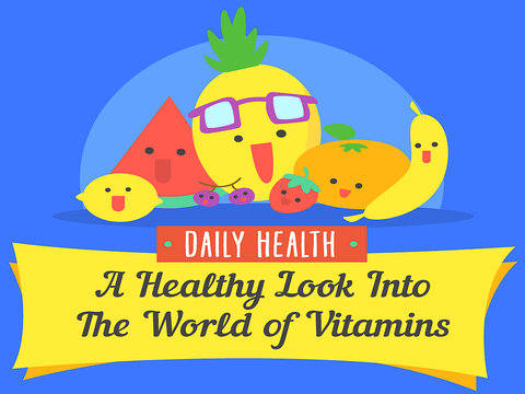 "Cartoon fruits and vegetables with text ""A Healthy Look Into the World of Vitamins"" infographic"