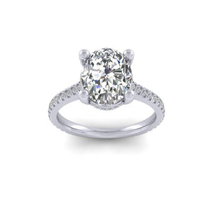 BESPOKE - Oval Moissanite & Diamond Gallery Shoulder Set Ring