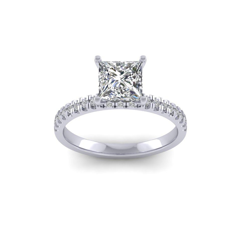 Bespoke Square Solitaire Diamond Shoulder Set Ring