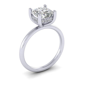 BESPOKE - Diamond Bridge Cushion Cut Petite Solitaire