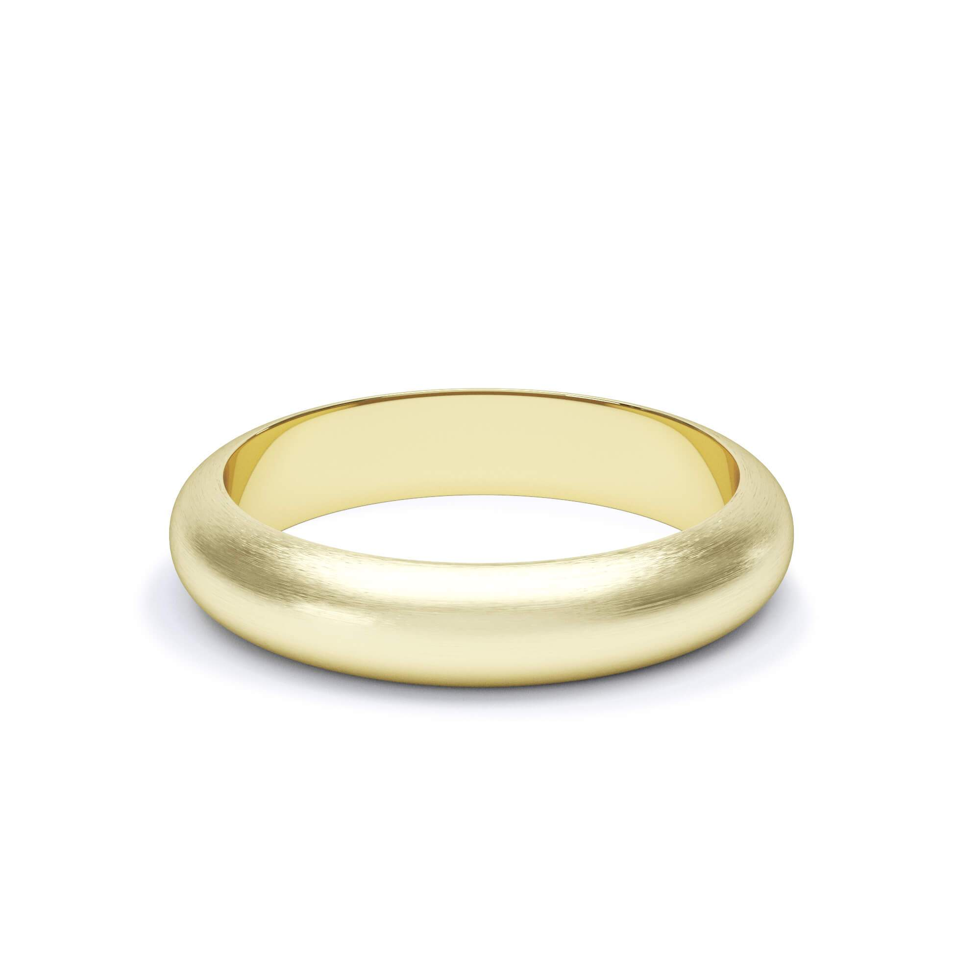 Lily Arkwright Wedding Bands 4.0mm / 18K Yellow Gold Satin Polish Satin Polish Plain Wedding Band D Shape Profile 18k Yellow Gold