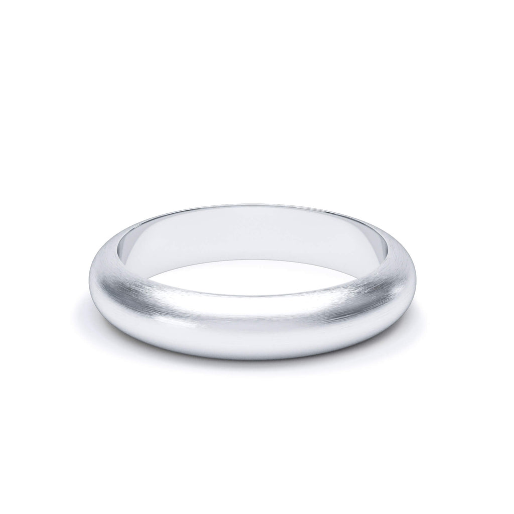 Satin Polish Plain D Shape Wedding Band 18k White Gold