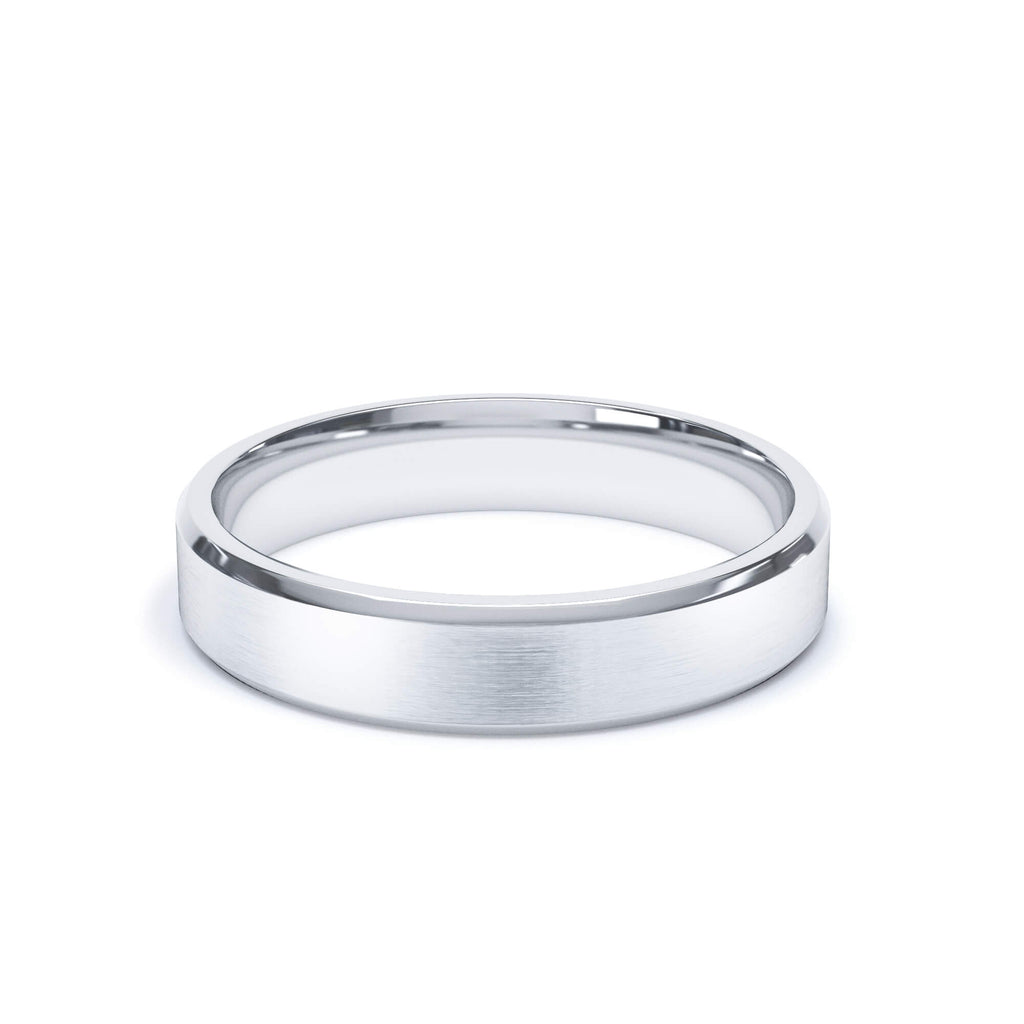 Satin Polish Wedding Band Bevelled Edge 18k White Gold