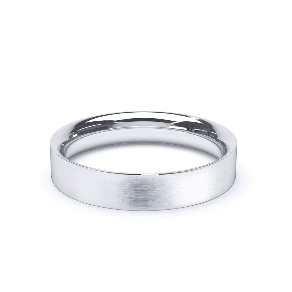 Satin Polish Wedding Band Flat Court Profile Platinum
