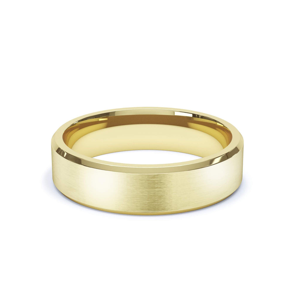 Satin Polish Wedding Band Bevelled Edge 18k Yellow Gold
