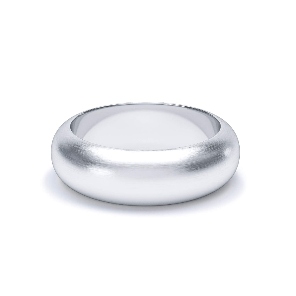 Satin Polish Plain Wedding Band D Shape Profile Platinum