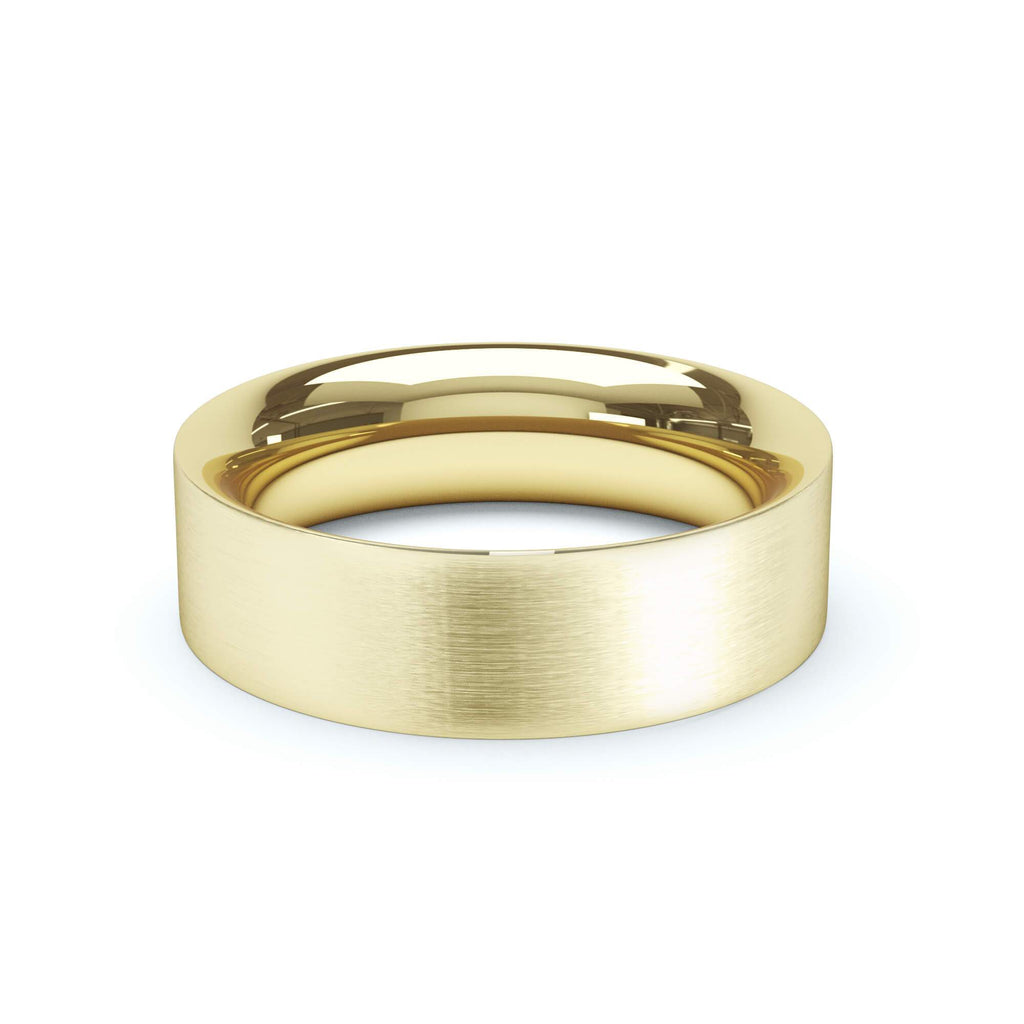 Satin Polish Wedding Band Flat Court Profile 18k Yellow Gold