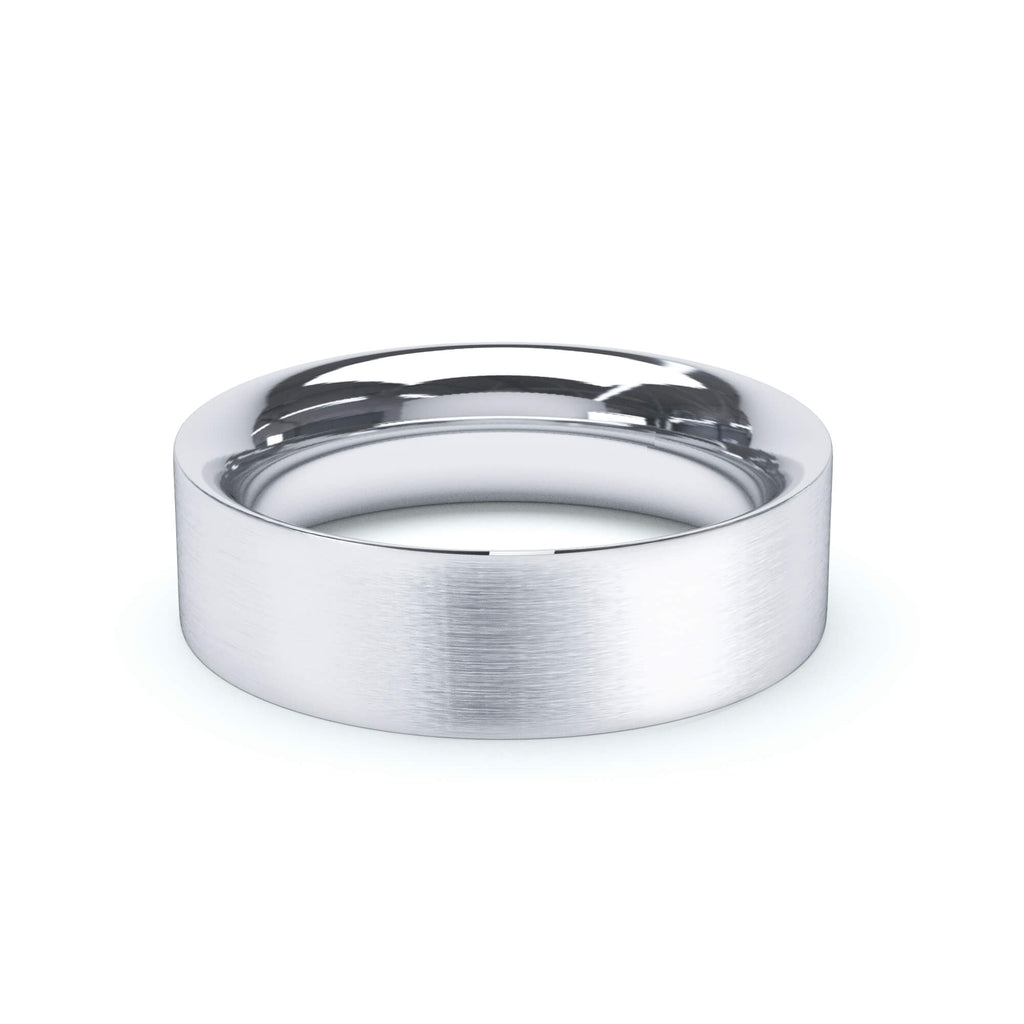 Satin Polish Wedding Band Flat Court Profile 18k White Gold