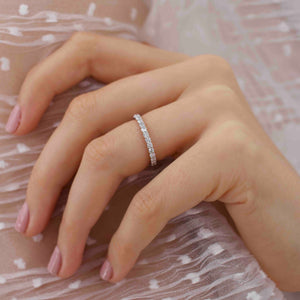 Aurelia rose gold 0.44 total carat weight moissanite charles & colvard forever one eternity wedding band Lily Arkwright