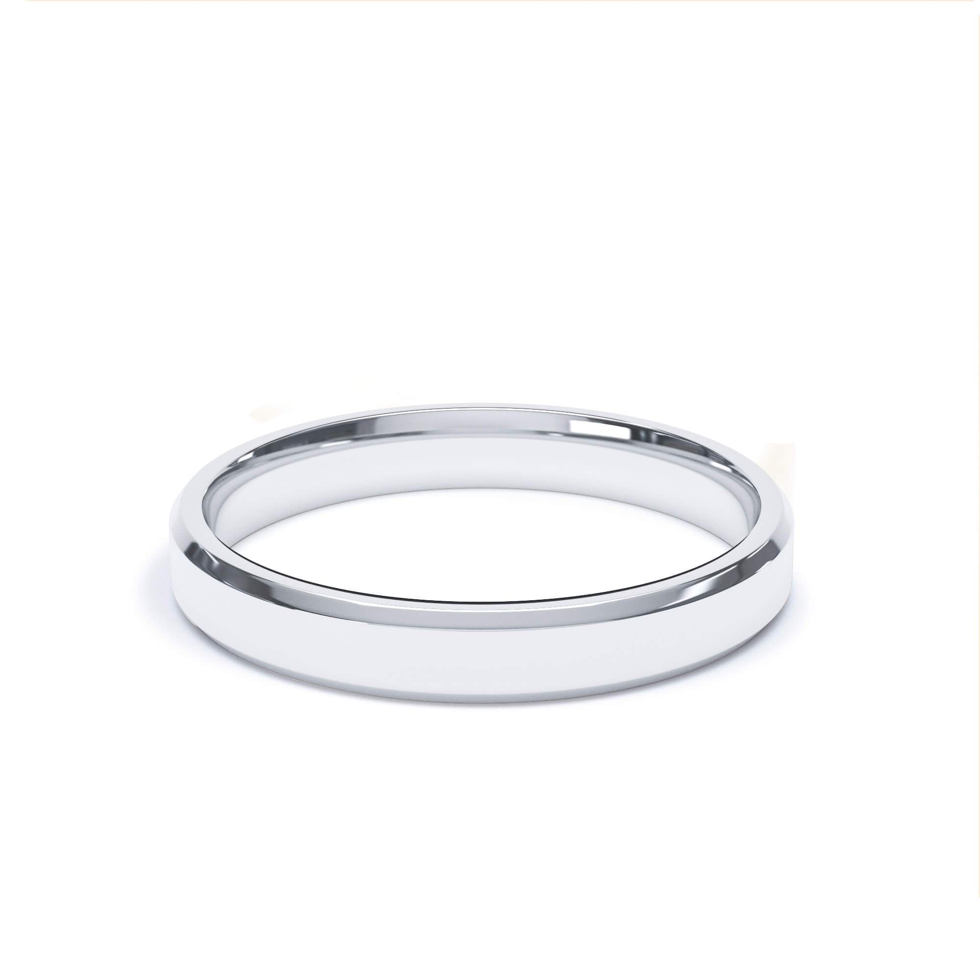 Lily Arkwright Wedding Bands 3.0mm / 18k White Gold Women's Plain Wedding Band Bevelled Edge Profile 18k White Gold