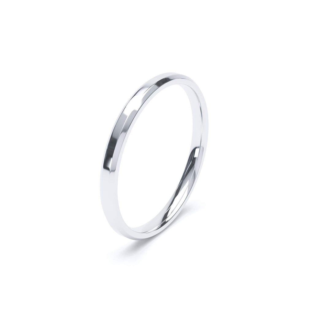 Women's Plain Wedding Band Bevelled Edge Profile Platinum