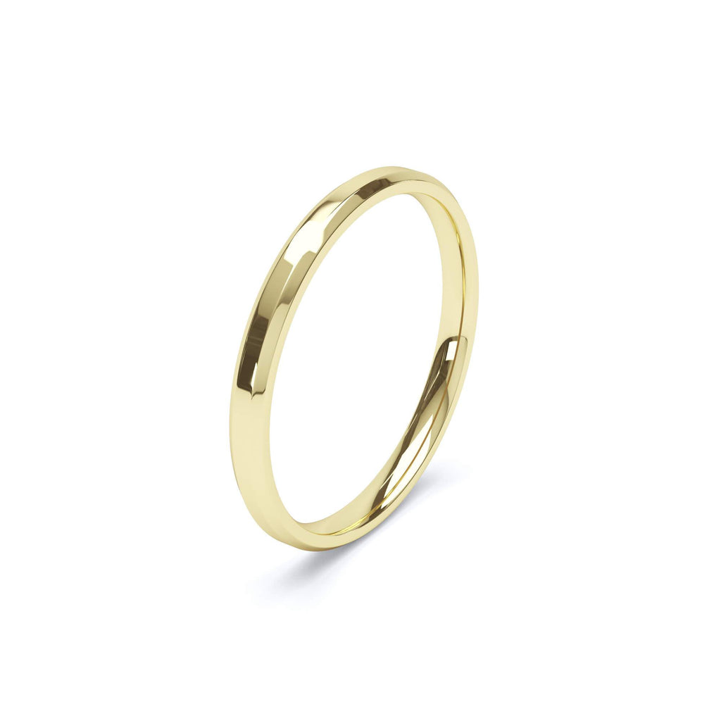 Women's Plain Wedding Band Bevelled Edge Profile 18k Yellow Gold