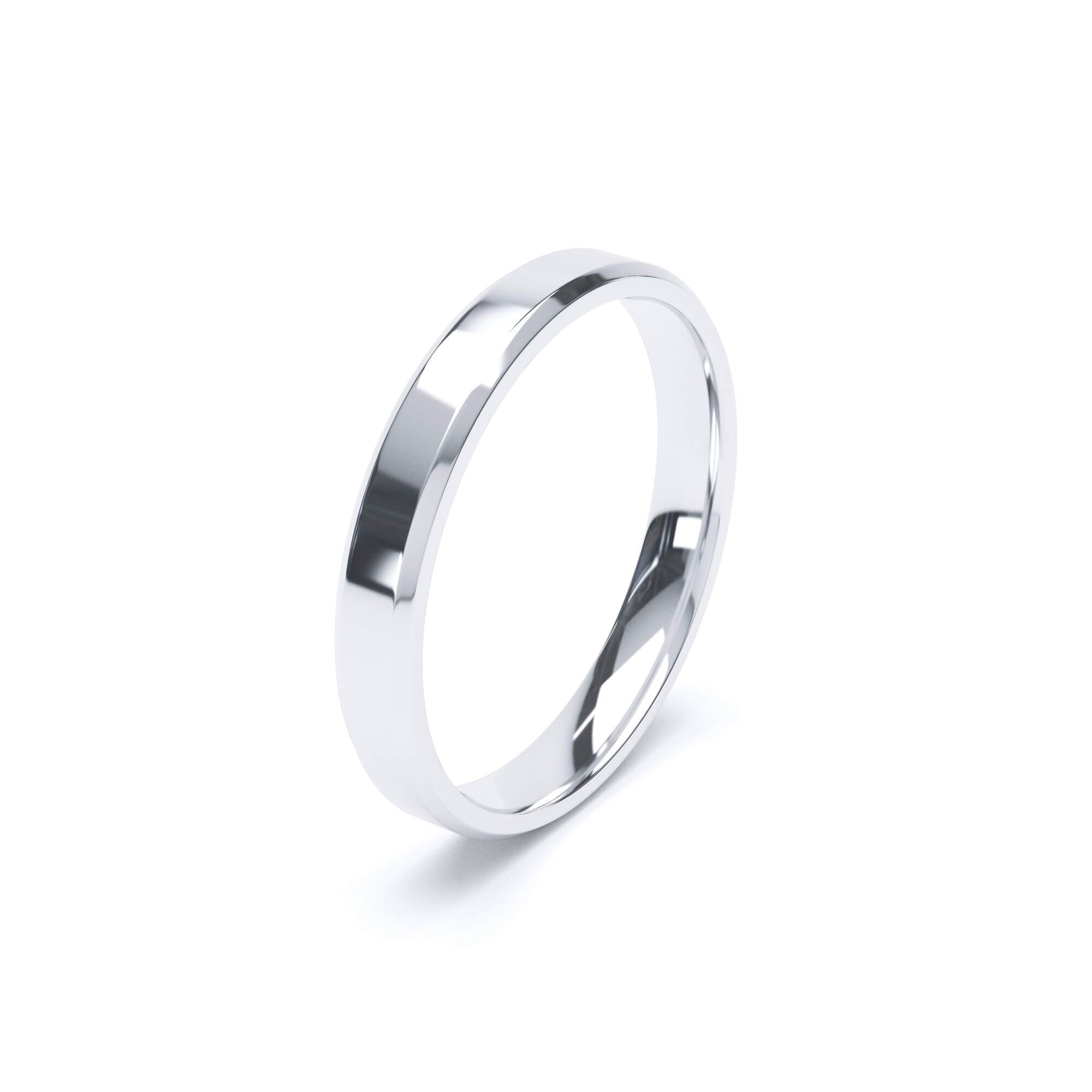 Lily Arkwright Wedding Bands Women's Plain Wedding Band Bevelled Edge Profile 18k White Gold
