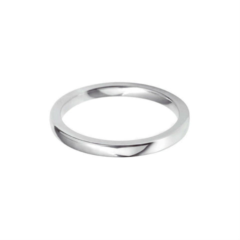 Plain Wedding Band Centre Cushion Profile 18k White Gold