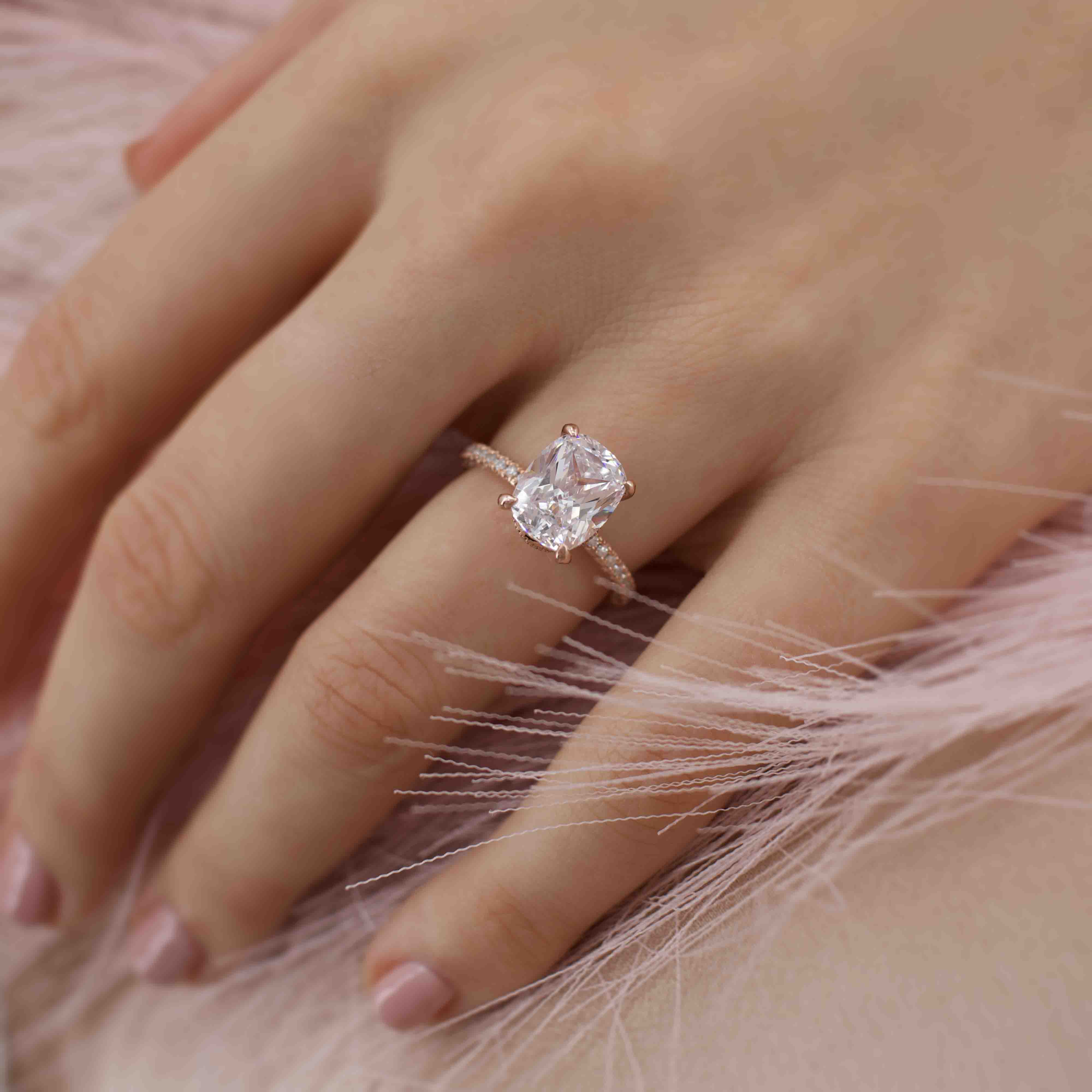 COCO - Elongated Cushion Cut Moissanite 18k White Gold Petite Hidden Halo Triple Pavé Engagement Ring Lily Arkwright
