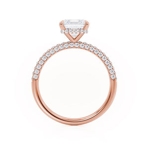 COCO - Asscher Moissanite & Diamond 18k Rose Gold Hidden Halo Triple Pavé Shoulder Set Engagement Ring Lily Arkwright