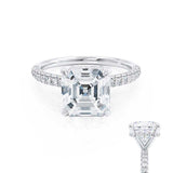COCO - Asscher Moissanite & Diamond 18k White Gold Hidden Halo Triple Pavé Shoulder Set Engagement Ring Lily Arkwright