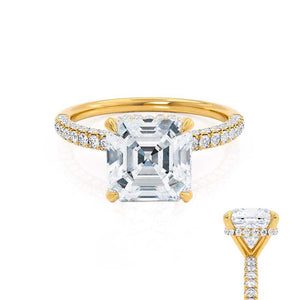 COCO - Asscher Moissanite & Diamond 18k Yellow Gold Hidden Halo Triple Pavé Shoulder Set Engagement Ring Lily Arkwright
