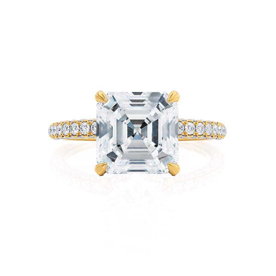 COCO - Asscher Forever One Moissanite & Diamond 18k Yellow Gold Hidden Halo Triple Pavé Shoulder Set