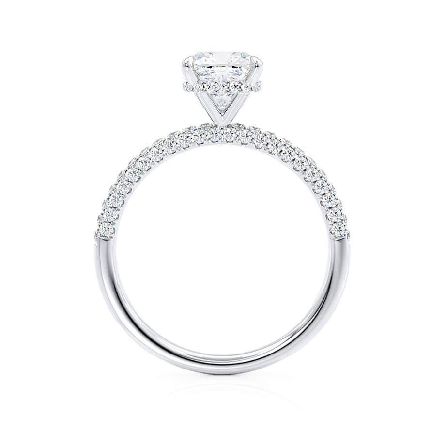 COCO - Cushion Cut Moissanite & Diamond 950 Platinum Hidden Halo Triple Pavé Shoulder Set
