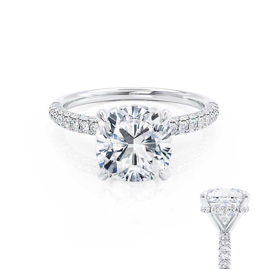 COCO - Cushion Moissanite & Diamond Platinum Hidden Halo Triple Pavé Shoulder Set Engagement Ring Lily Arkwright