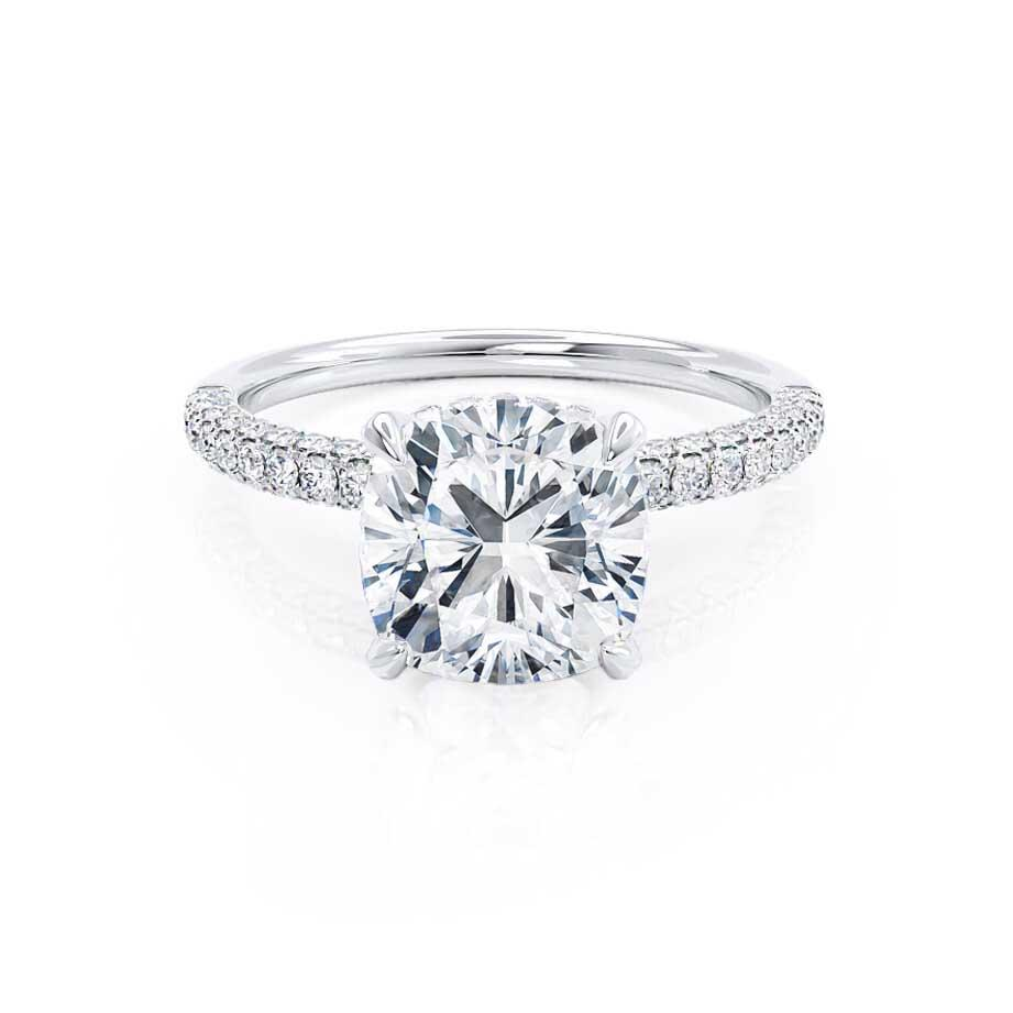 COCO - Cushion Cut Forever One Moissanite & Diamond 950 Platinum Hidden Halo Triple Pavé Shoulder Set