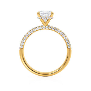 COCO - Cushion Moissanite & Diamond 18k Yellow Gold Hidden Halo Triple Pavé Shoulder Set Engagement Ring Lily Arkwright