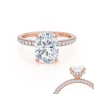 COCO - Elongated Cushion Moissanite & Diamond 18k Rose Gold Petite Hidden Halo Triple Pavé Ring Engagement Ring Lily Arkwright