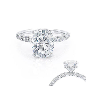 Lily Arkwright Elongated Cushion Cut Moissanite 18k White Gold Petite Hidden Halo Triple Pavé Engagement Ring