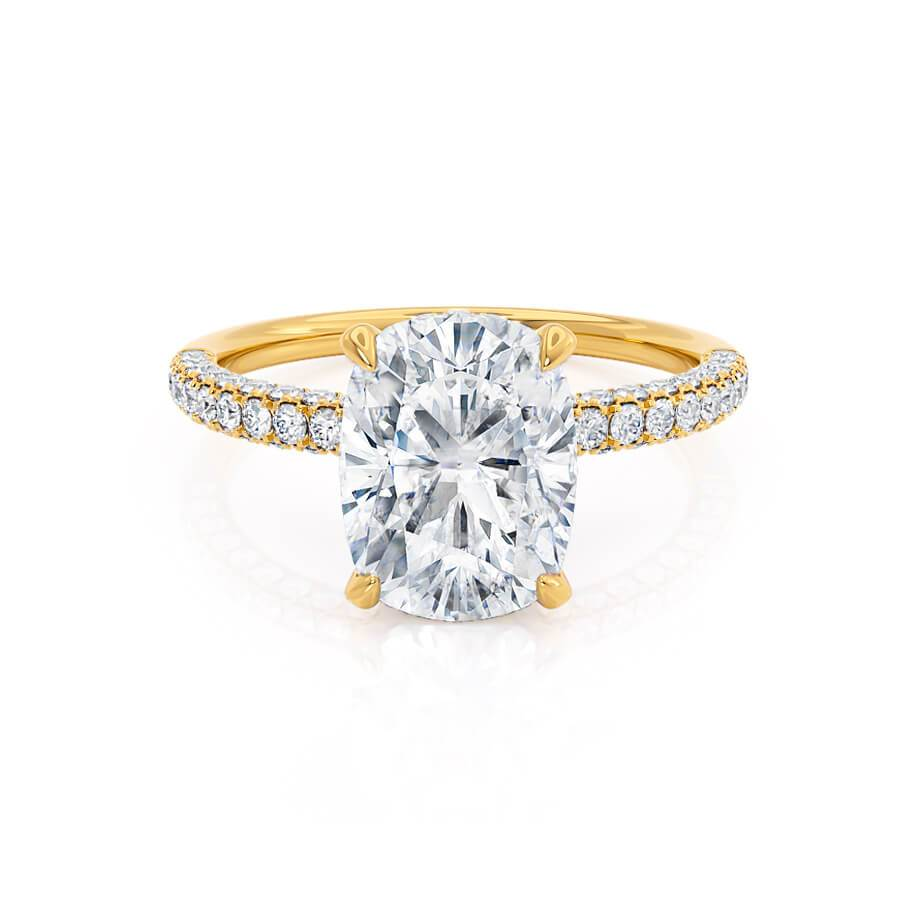 Lily Arkwright Elongated Cushion Cut Moissanite 18k Yellow Gold Petite Hidden Halo Triple Mirco Pavé Ring